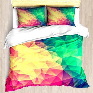 Soefipok Abstract Polygon Multi Color Kubismus Low Poly Triangle Design - Bettbezug-Set Weiche Bettdecke Kissenbezug Bett-Set