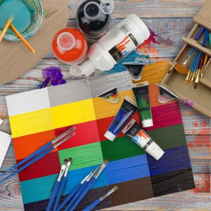 Artina Crylic 10 x 120ml Acrylfarben Set 10 Farben hochwertige Künstlerfarben Farbset Hobby-Künstler & Profis