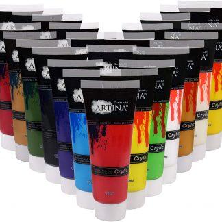 Artina Acrylfarben Set Crylic 24x120 ml Künstlerfarben - Hochwertiges Malerei Acryl Set für Profi- und Hobby-Künstler