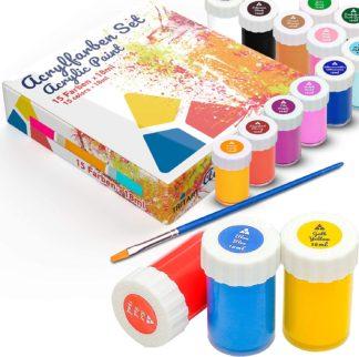 Tritart Acryl-Farben-Set für Kinder und Erwachsene | 15er Acryl Farbset